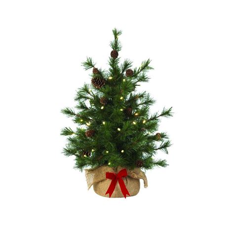 hypoallergenic christmas tree martha stewart living 24 in pre lit led bristle cone pine burlap artificial table tree