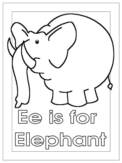 coloring activity pages quot ee is for elephant quot coloring page