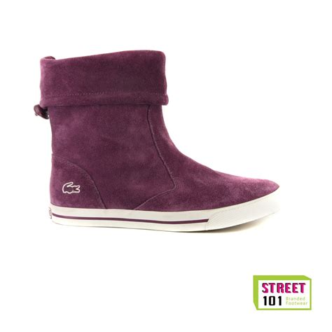 womens lacoste matane purple suede boots