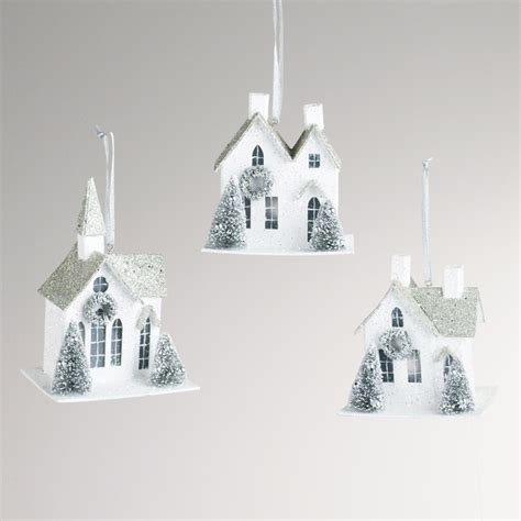 paper house ornaments set of 3