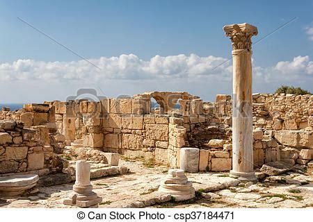 stad, forntida, kourion, fördärvar, grek, cypern.