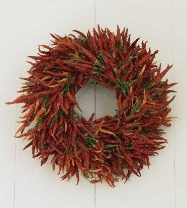 Red Hot Dried Chili Pepper Wreath Vivaterra | beautiful restaurant and chili on pinterest