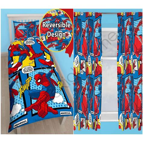 spiderman curtains uk spiderman webhead rotary single duvet curtains available
