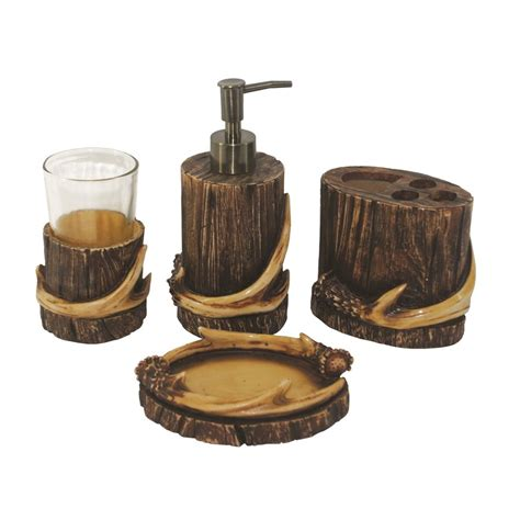 deer antler bathroom accessories antler 4 piece bathroom accessory set ld 6110