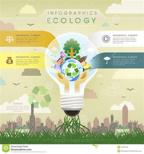 flat design poster vector flat design ecology bulb infographics stock vector image