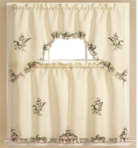 Kitchen Curtains Swags Kitchen Curtain Embroidered 3 Pc Applique Set One Swag Valance Two Tiers Ebay