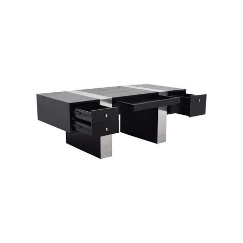 Black And Chrome Desk by 52 Inmod Inmod Nero Black And Chrome Desk Tables