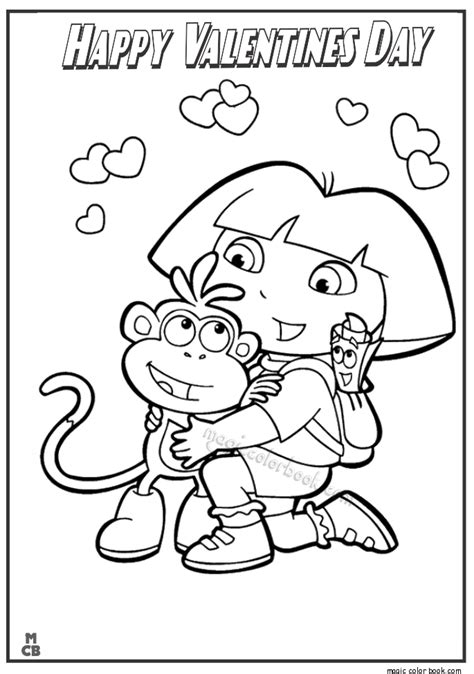 dora valentine coloring pages dora happy valentines day coloring page 8
