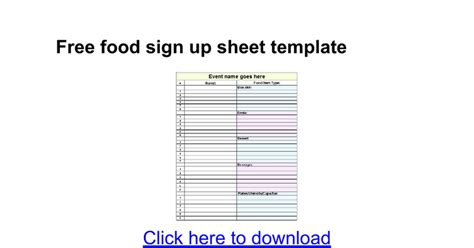 Free Food Sign Up Sheet Template Google Docs Sign Up Sheet Template Docs