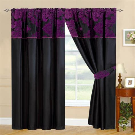 Black White And Purple Curtains New Fully Lined Ready Made Top Curtains Black With Purple 2 Tie Backs 7 Luxury Colours