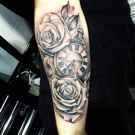 pocket watch and roses tattoo pocketwatch blackandgrey tattoos