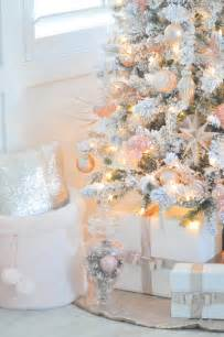 blush pink and white flocked vintage inspired christmas