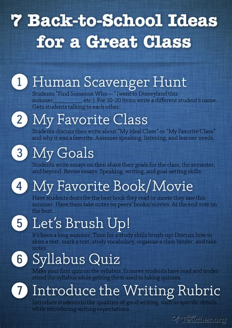 7 Great For by 7 Back To School Ideas For A Great Class Poster