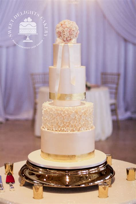 Ivory Wedding by Ivory Gold Wedding Cake Cakecentral
