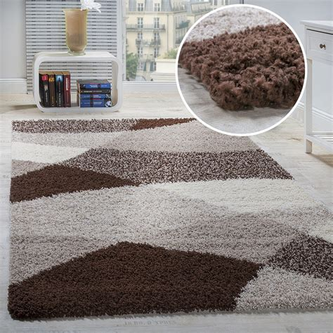 teppiche 150x150 shaggy carpet high pile pile patterned in grey black