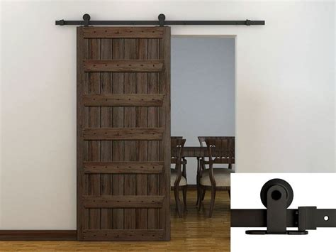 6ft Dark Coffee Modern European Style Barn Wood Sliding Barn Door Sliding Door Track