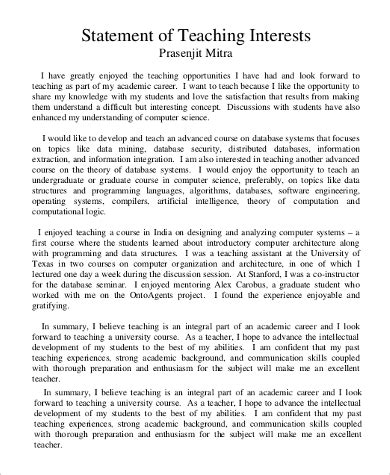 sle statement of interest 8 exles in pdf word