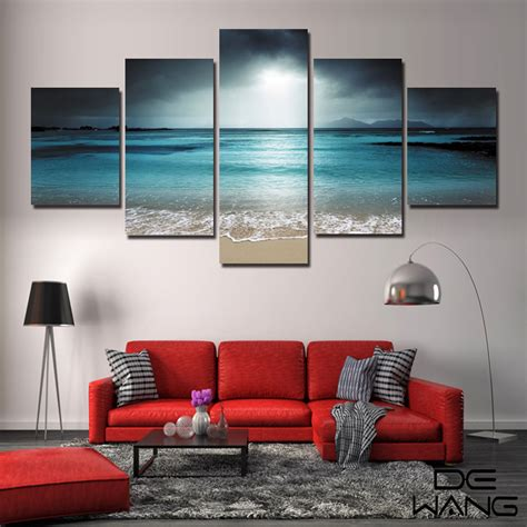 canvas pictures for living room aliexpress buy 5 panel seascape canvas painting sea wave wall cuadros wall