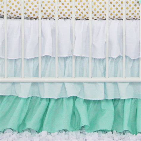 Ruffled Crib Skirt by Mint Gradient Ombre Ruffle Crib Skirt Mint White Pastel