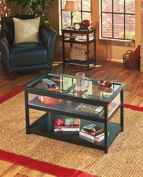 Living Room Display Table New Black Glass Top Display End Table Or Coffee Table