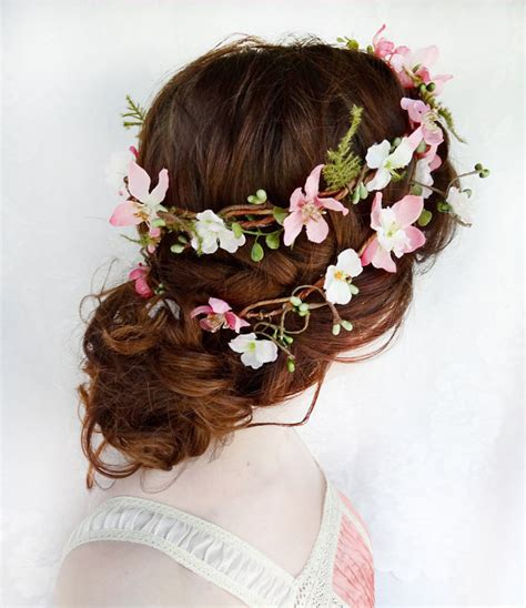 flower wreaths for hair rustic wedding hair wreath woodland from thehoneycomb on etsy