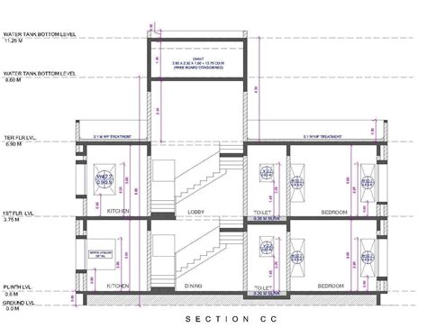 section of a toilet architectural portfolio bungalow for mr chandrakant