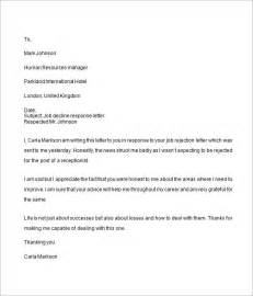 Closing Response Letter Employment Application Response Letter Employment
