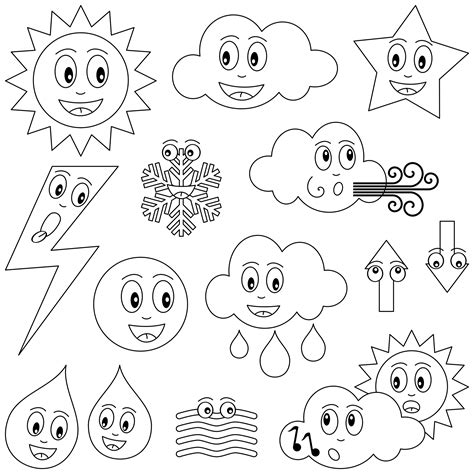 planse de colorat pentru copii sa invatam cum  vremea