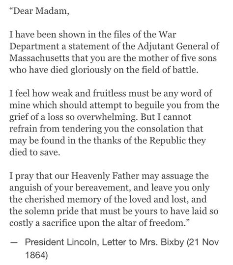 abraham lincoln letter to the bixby letter on abraham lincoln who was