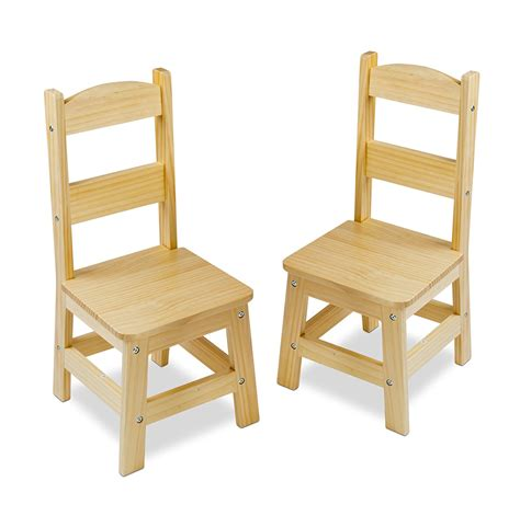 melissa doug solid wood chairs set of 2 light finish furniture for playroom party supply