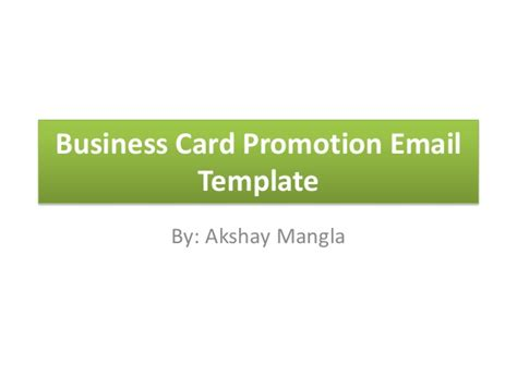 Business Card Promotion Email Template Email Card Template
