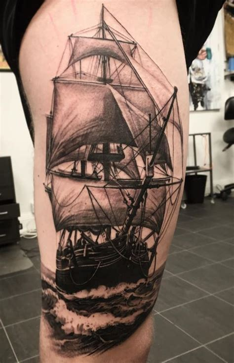 ship tattoo black and grey black and gray ship tattoo inkstylemag