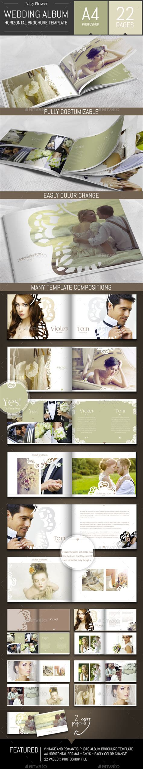 Wedding Photo Album Horizontal Brochure Template by Wedding Photo Album Horizontal Brochure Template Photo