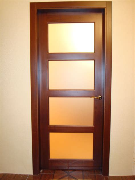 Wood Interior Doors With Glass Modern Brown Wooden Door With Glass In Bright Room