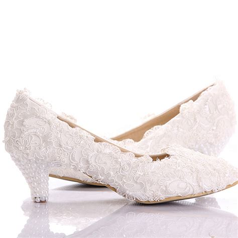 Wedding Shoes Kitten Heel by 2015 White Lace Low Heel Wedding Bridal Shoes Kitten Heel