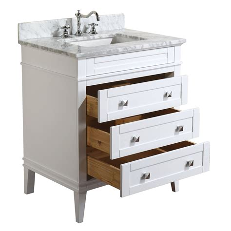 Country White 30 Inch High Eleanor 30 Inch Vanity Carrara White Kitchenbathcollection
