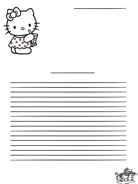 free printable hello kitty lined paper 7 best images of hello kitty writing paper printable