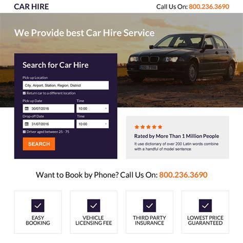 best car service responsive car hire service mini landing page design