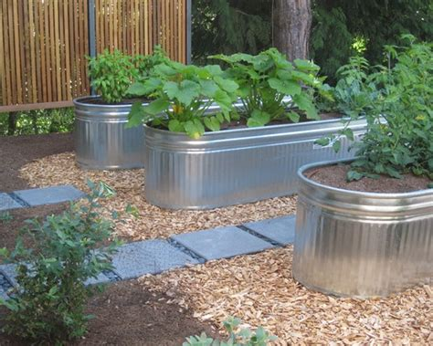 Galvanized Water Trough Planter by Galvanized Trough Design Garden Ideas