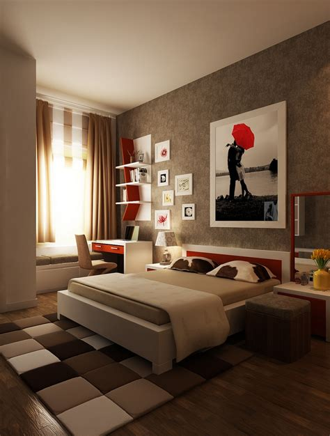 Brown And Red Bedroom | red brown white bedroom layout interior design ideas