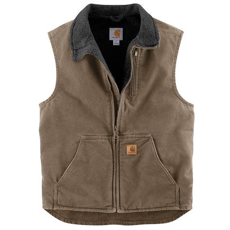 carhartt rugged work vest s sandstone mock neck vest sherpa lined v33 carhartt