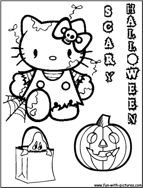 hellokitty halloween coloring page