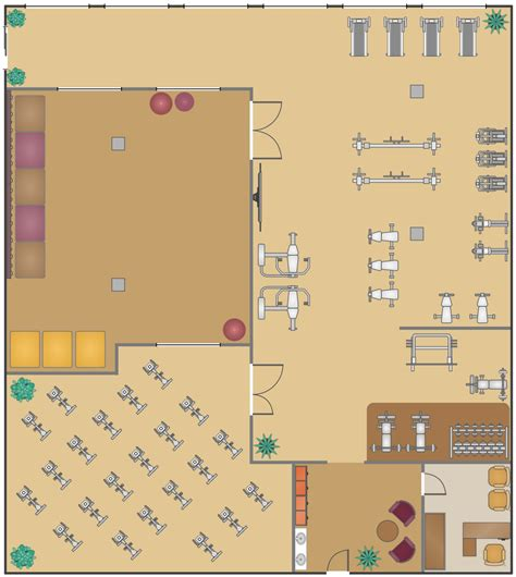 fitness center floor plans gym and spa area plans solution conceptdraw com