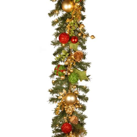 garland with battery operated lights 9 ft battery operated plaza artificial garland with 50