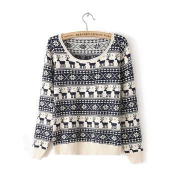 Lip Sweater Rajut Black sweater 2014 musim gugur baru rusa kecil dicetak kapas