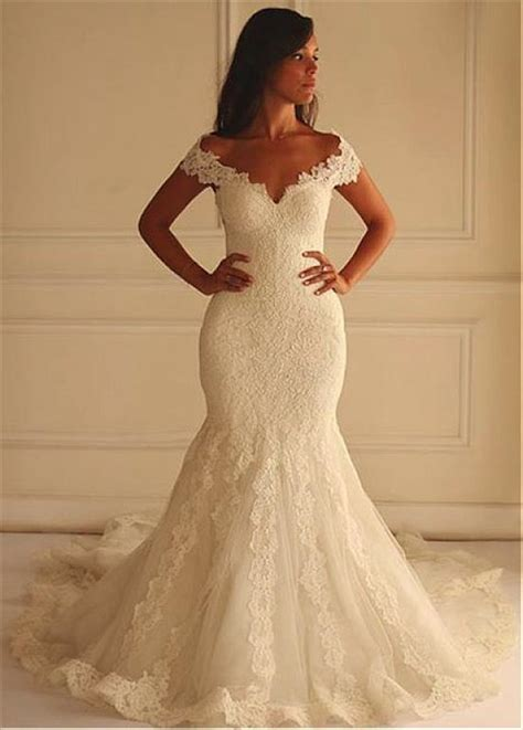 Shoulder Lace Wedding Dress mermaid the shoulder vintage lace wedding dress with