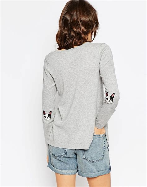 Nsweater Buldog asos sweater with bulldog patch in gray lyst