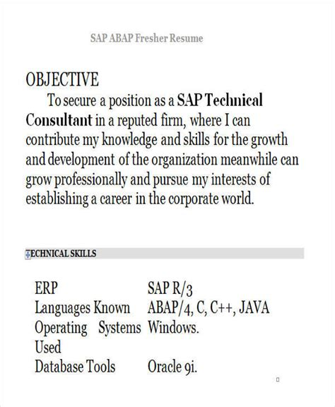 Abap Fresher Resume Format by 42 Professional Fresher Resumes Sle Templates
