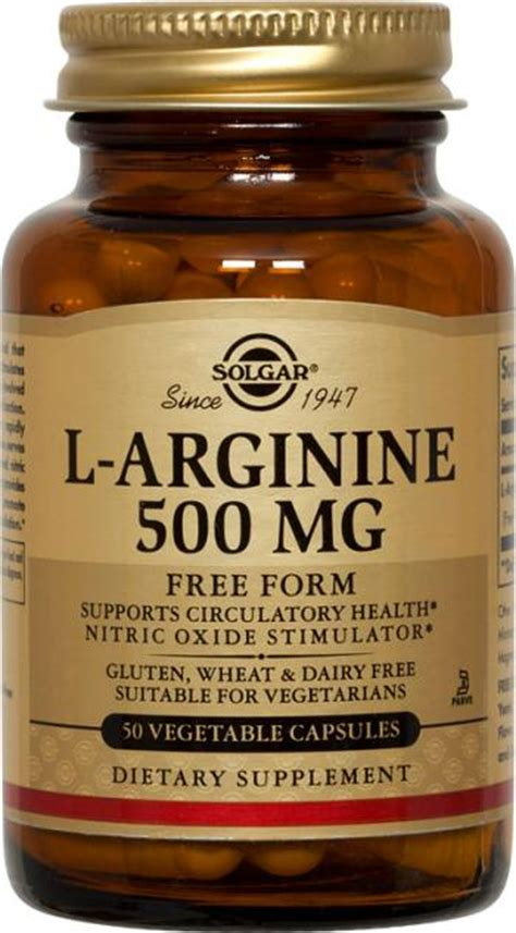 l arginine vegetables l arginine 500 mg vegetable capsules solgar vitamins