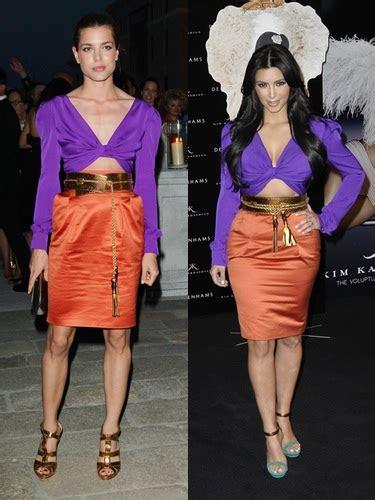 kim kardashian con un vestido de gucci morado y naranja los kim kardashian y carlota casiraghi copian el vestido de